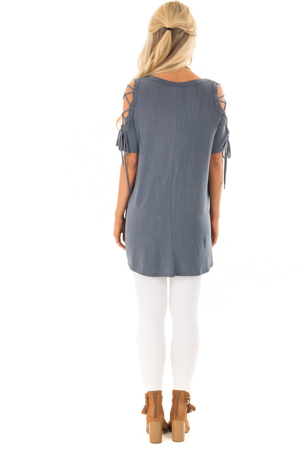 Slate Blue Mineral Wash Tee Shirt with Lace Up Cold Shoulders back full body