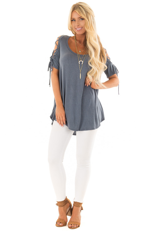 Slate Blue Mineral Wash Tee Shirt with Lace Up Cold Shoulders front full body