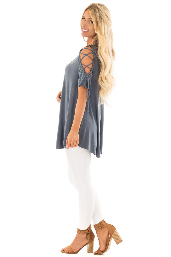 Slate Blue Mineral Wash Tee Shirt with Lace Up Cold Shoulders side full body