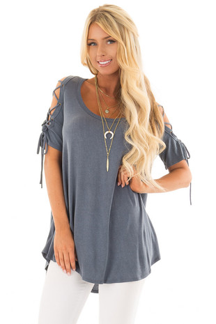 Slate Blue Mineral Wash Tee Shirt with Lace Up Cold Shoulders front close up