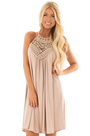 Taupe Dress with Lace Front Detail front close up
