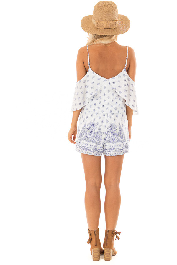 Off White Floral Paisley Print Romper with Open Shoulder back full body