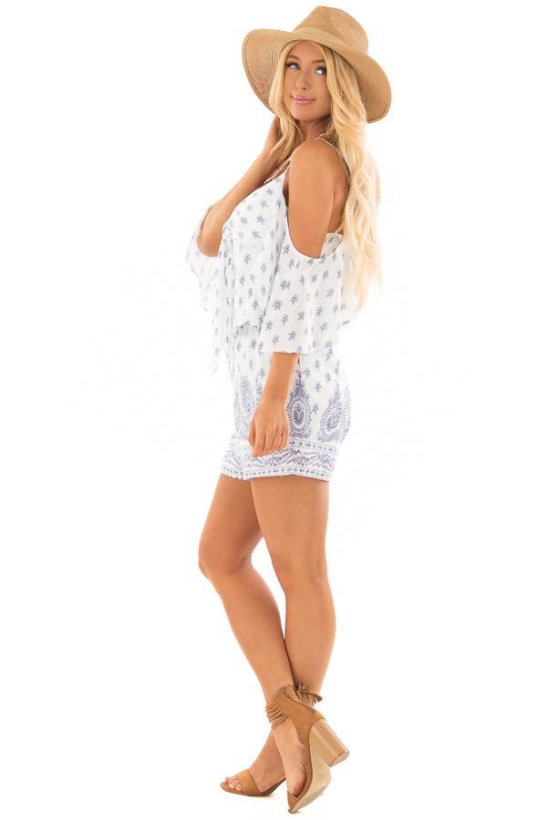 Off White Floral Paisley Print Romper with Open Shoulder side full body