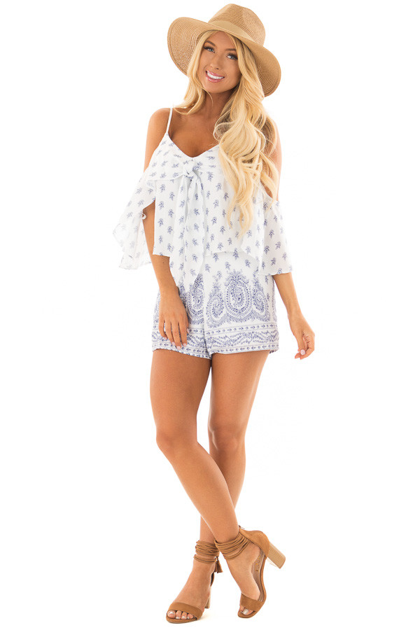 Off White Floral Paisley Print Romper with Open Shoulder front full body