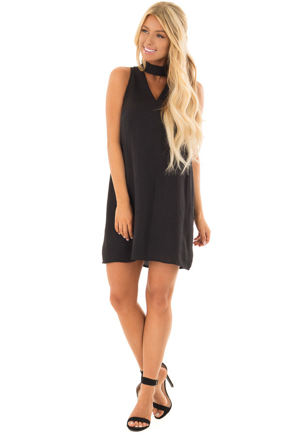 Black Dress with Choker Band and Sheer Lace Detail in Back front full body