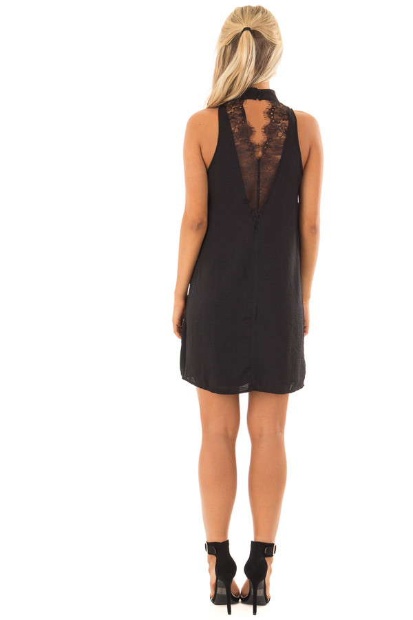 Black Dress with Choker Band and Sheer Lace Detail in Back back full body