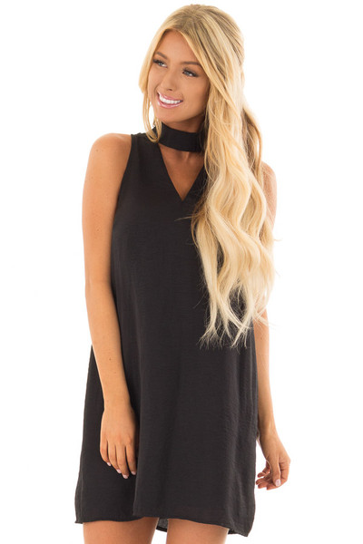 Black Dress with Choker Band and Sheer Lace Detail in Back front close up