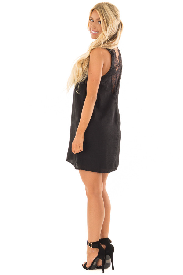 Black Dress with Choker Band and Sheer Lace Detail in Back side full body