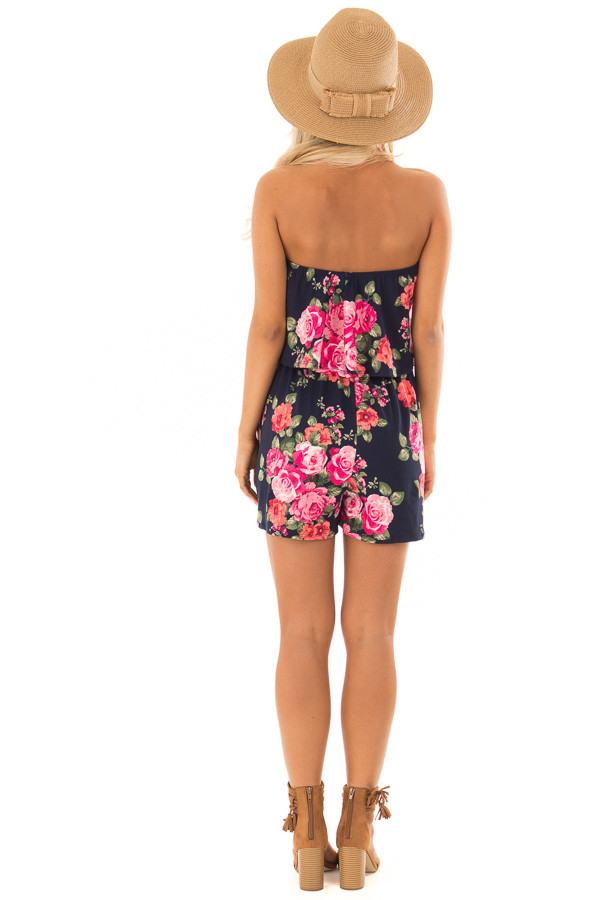 Floral Strapless Romper with Pockets back full body