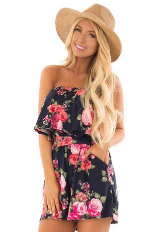 Floral Strapless Romper with Pockets front close up