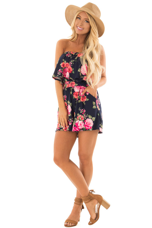 Floral Strapless Romper with Pockets front full body