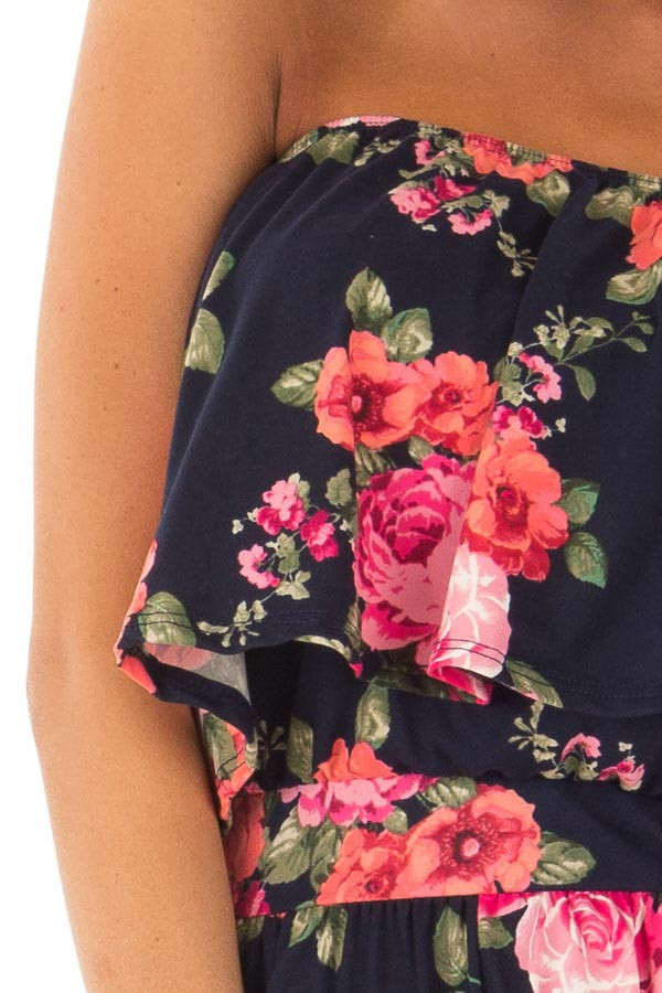 Floral Strapless Romper with Pockets detail