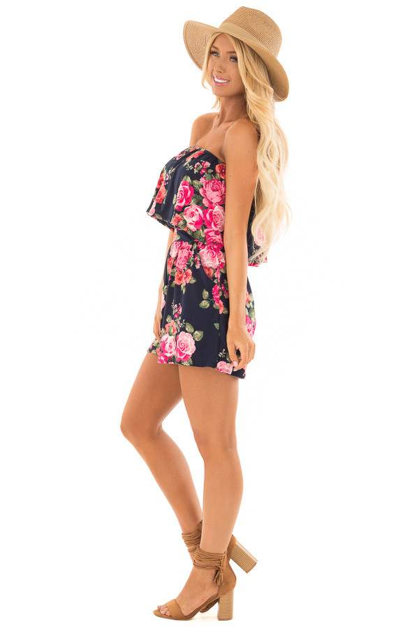 Floral Strapless Romper with Pockets side full body