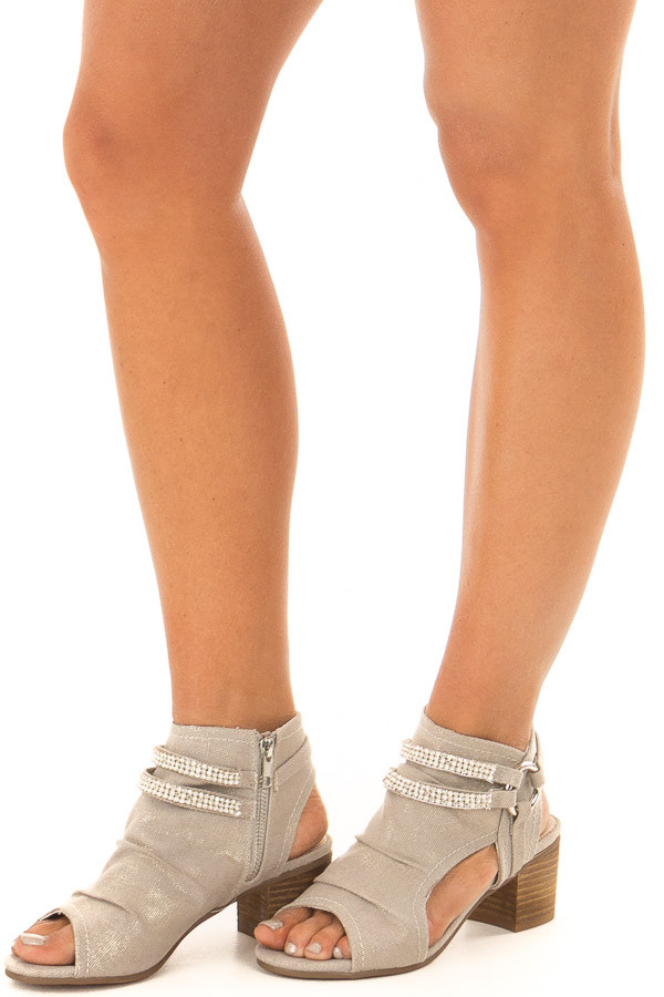 Cream Shimmer Peep Toe Heels with Bling Details front side view