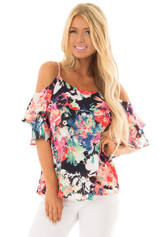 Neon Floral Print Cold Shoulder Top front close up