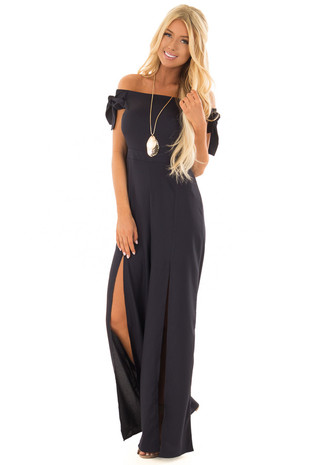 Midnight Navy Off the Shoulder Jumpsuit with Front Slits front full body