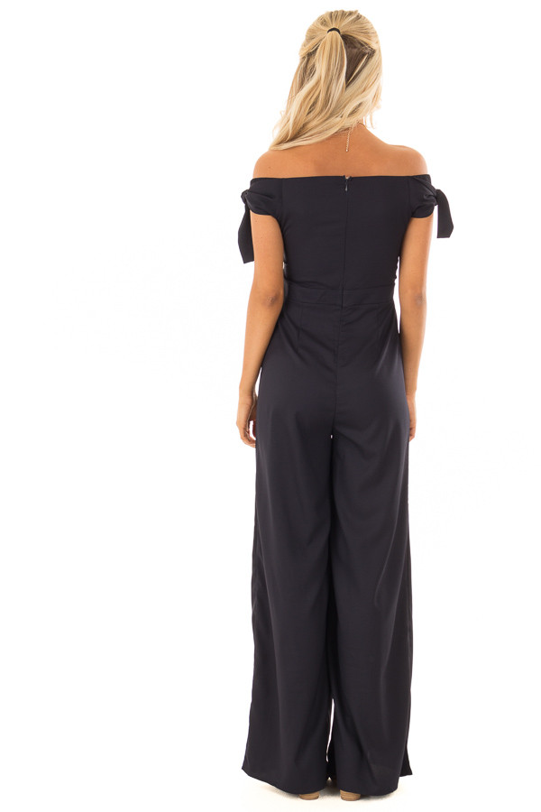 Midnight Navy Off the Shoulder Jumpsuit with Front Slits back full body