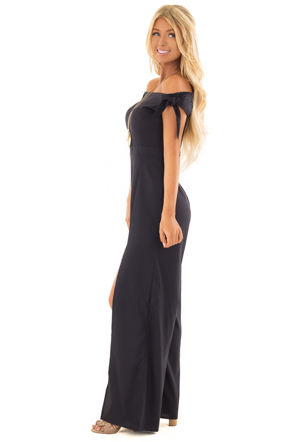 Midnight Navy Off the Shoulder Jumpsuit with Front Slits side full body