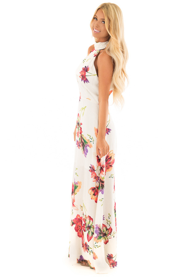 Ivory Floral Print Maxi Dress with Slit Neckline side full body