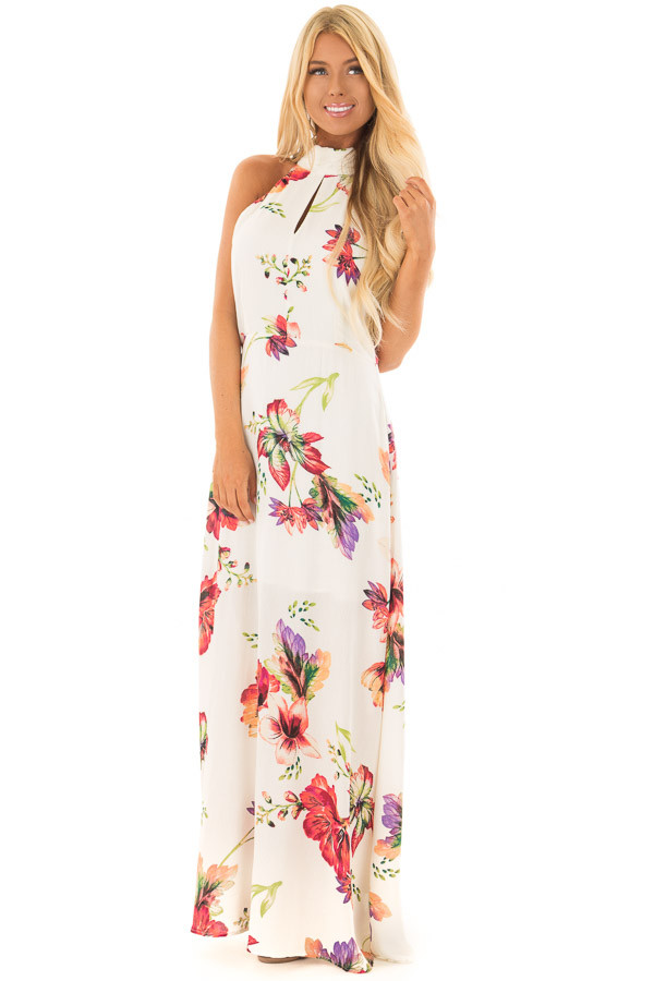 Ivory Floral Print Maxi Dress with Slit Neckline front full body