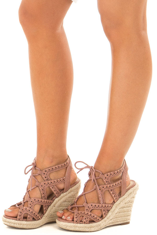Dark Blush Strappy Lace Up Wedges with Rose Gold Studs front side view