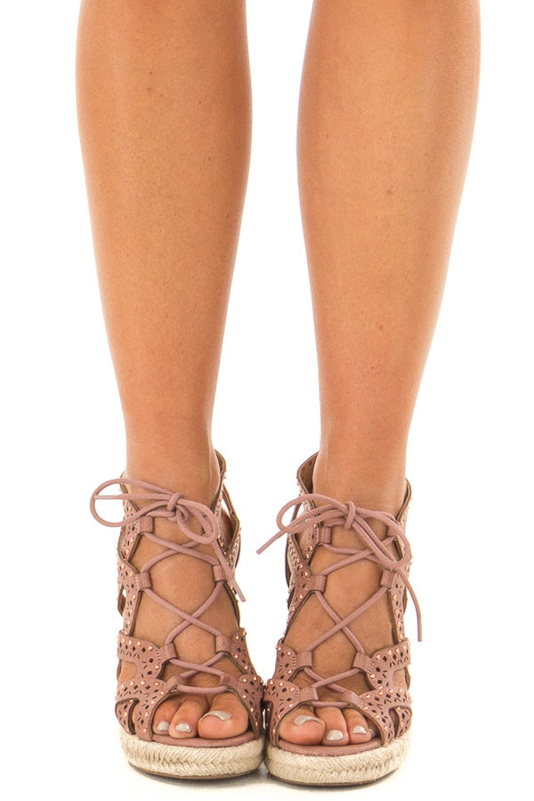 Dark Blush Strappy Lace Up Wedges with Rose Gold Studs front view