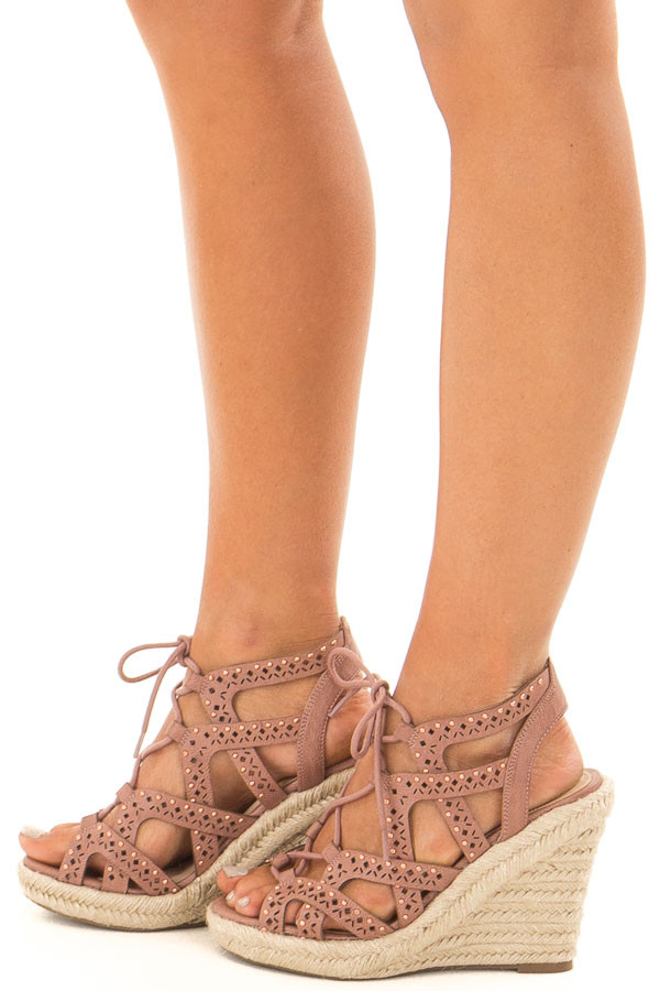 Dark Blush Strappy Lace Up Wedges with Rose Gold Studs side view