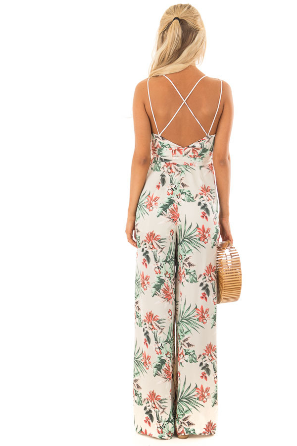 Ivory Floral Print Jumpsuit with Plunging Neckline back full body
