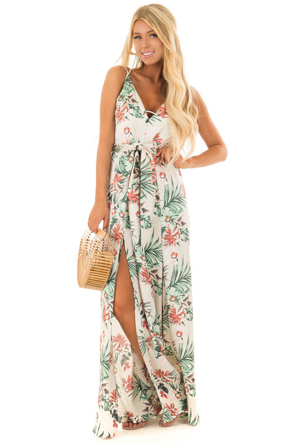 Ivory Floral Print Jumpsuit with Plunging Neckline front full body