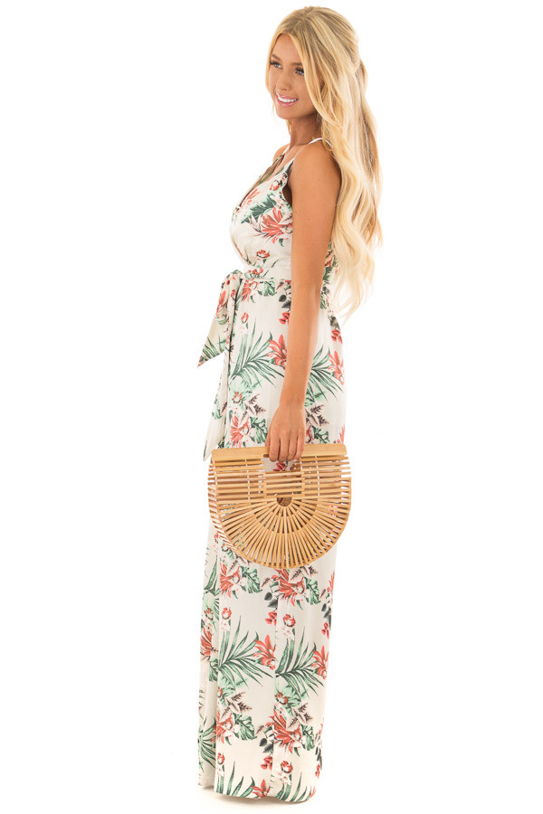Ivory Floral Print Jumpsuit with Plunging Neckline side full body