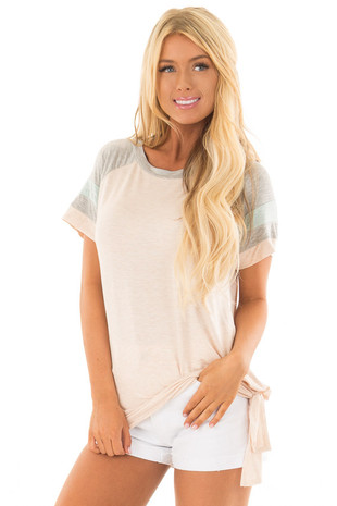 Light Peach Baseball Tee with Contrast Sleeves and Side Knot front close up