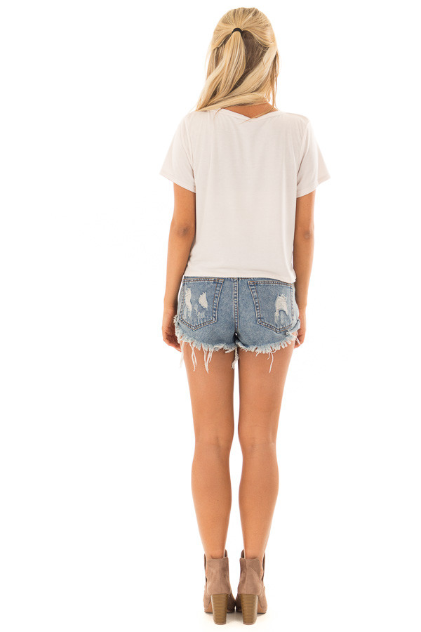 Ivory Short Sleeve Crop Top with Front Twist back full body
