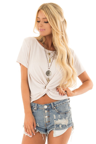 Ivory Short Sleeve Crop Top with Front Twist front full body