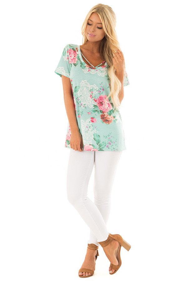 Mint Floral Print Short Sleeve Top with V Strap Neckline front full body