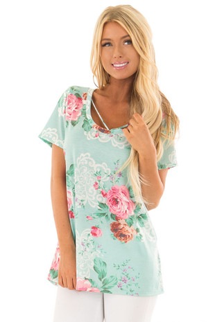 Mint Floral Print Short Sleeve Top with V Strap Neckline front close up