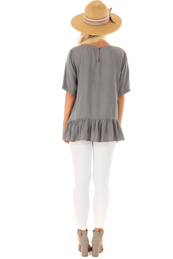 Faded Sage Embroidered Top with Ruffle Hemline back full body
