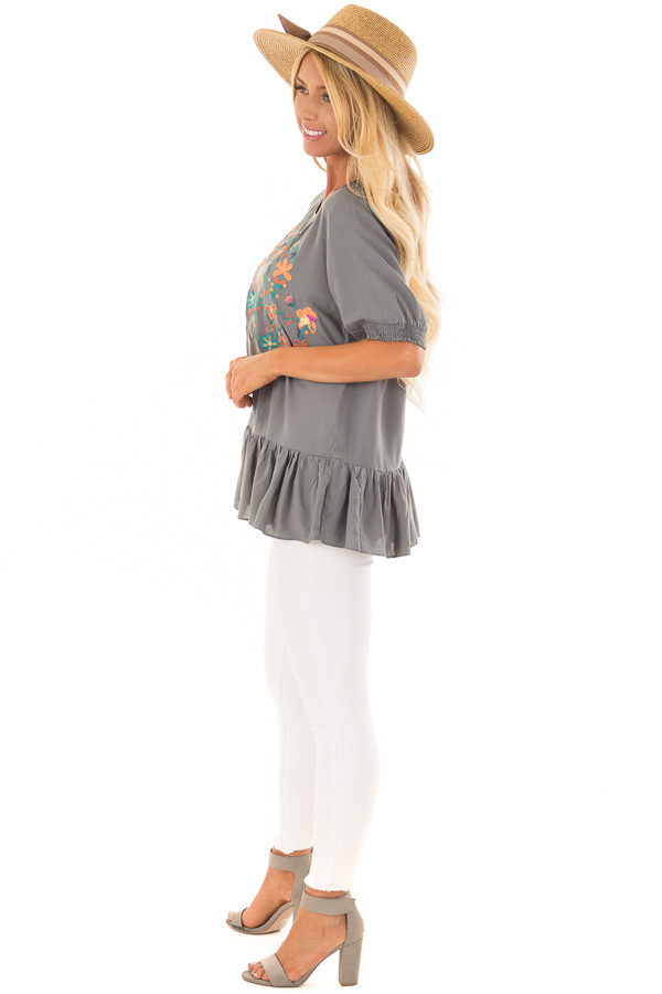 Faded Sage Embroidered Top with Ruffle Hemline side full body