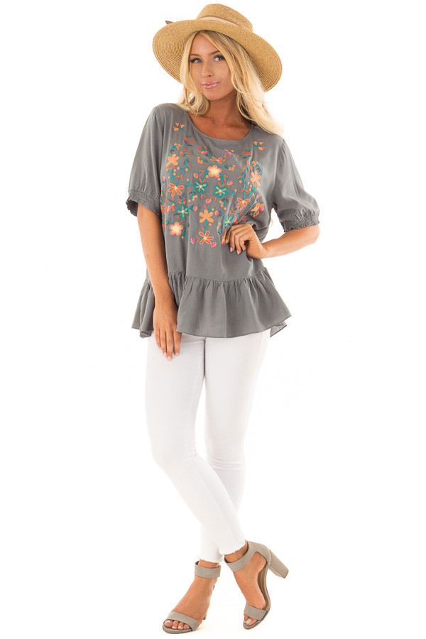 Faded Sage Embroidered Top with Ruffle Hemline front full body