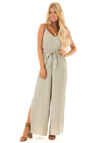 Light Olive Sleeveless Jumpsuit with Waist Tie front full body
