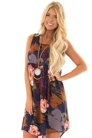 Navy Floral Print Dress with Crochet Trim front close up