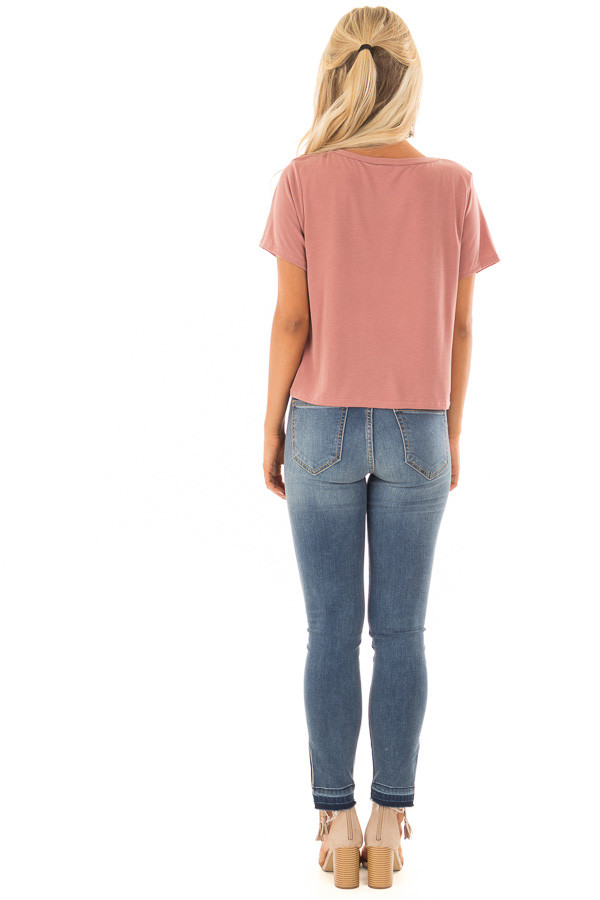 Light Brick Short Sleeve Crop Top with Front Twist back full body