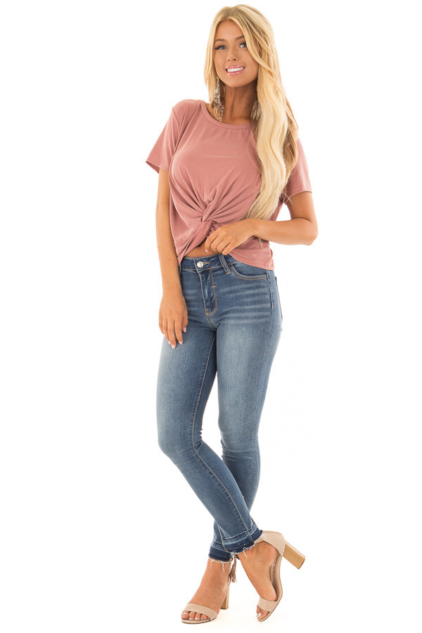 Light Brick Short Sleeve Crop Top with Front Twist front full body