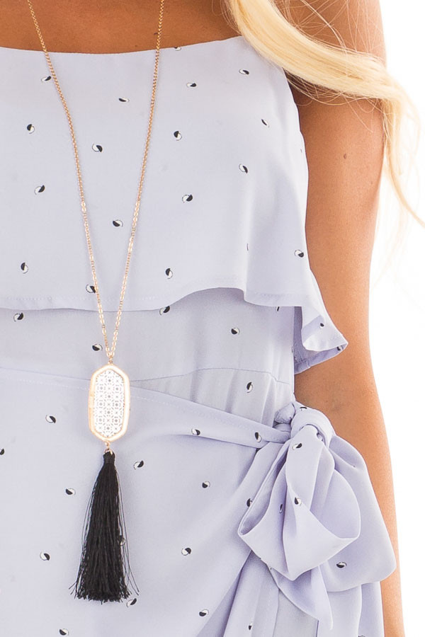 Pale Blue Sleeveless Dress with Side Wrap Tie Detail detail