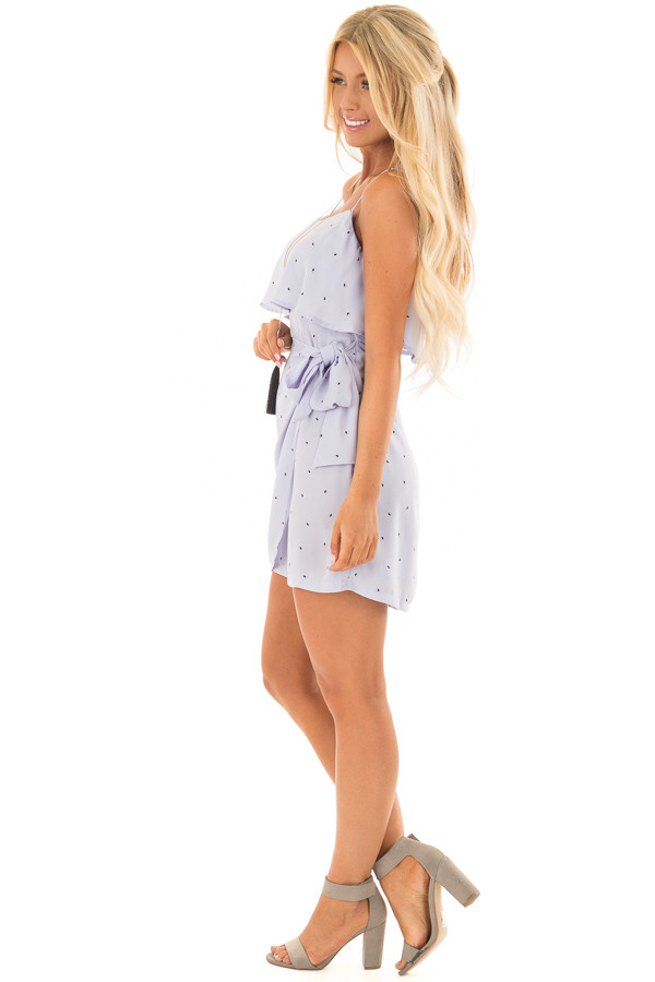 Pale Blue Sleeveless Dress with Side Wrap Tie Detail side full body