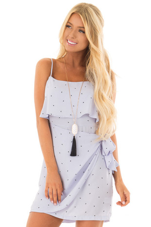 Pale Blue Sleeveless Dress with Side Wrap Tie Detail front close up
