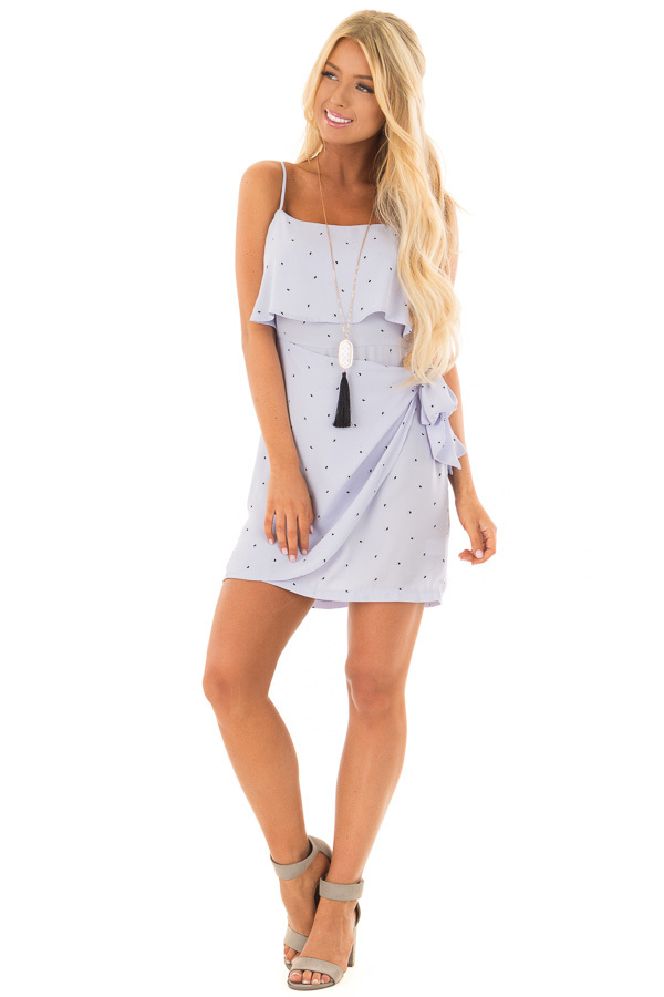 Pale Blue Sleeveless Dress with Side Wrap Tie Detail front full body