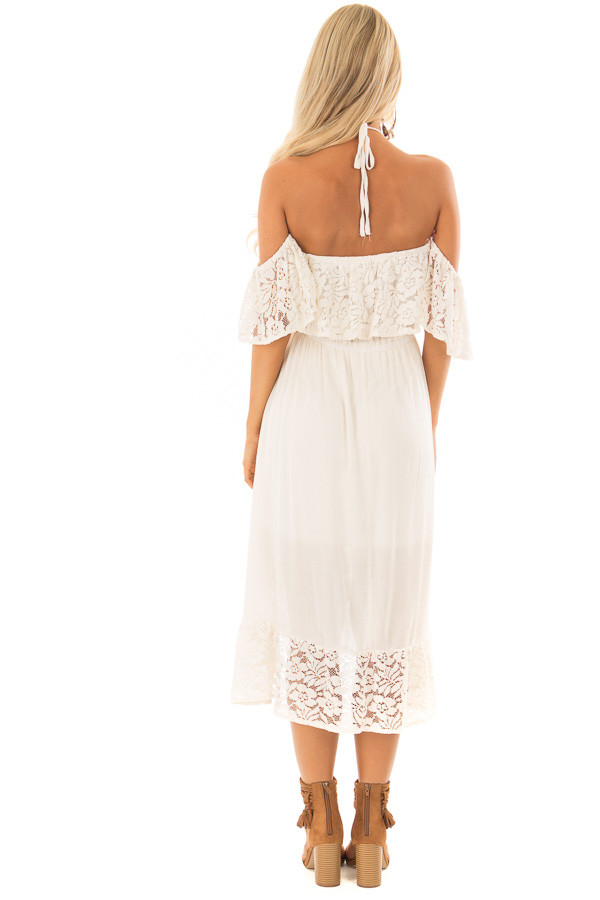 Cream Halter Off the Shoulder Dress with Lace Contrast back full body