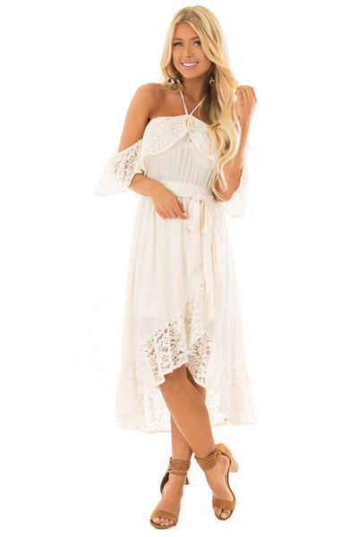 Cream Halter Off the Shoulder Dress with Lace Contrast front full body