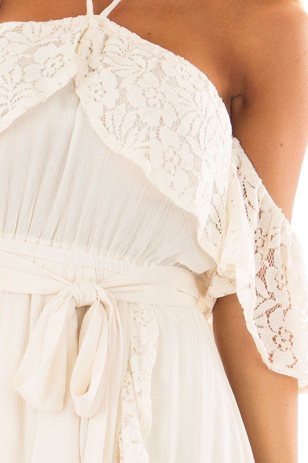 Cream Halter Off the Shoulder Dress with Lace Contrast detail
