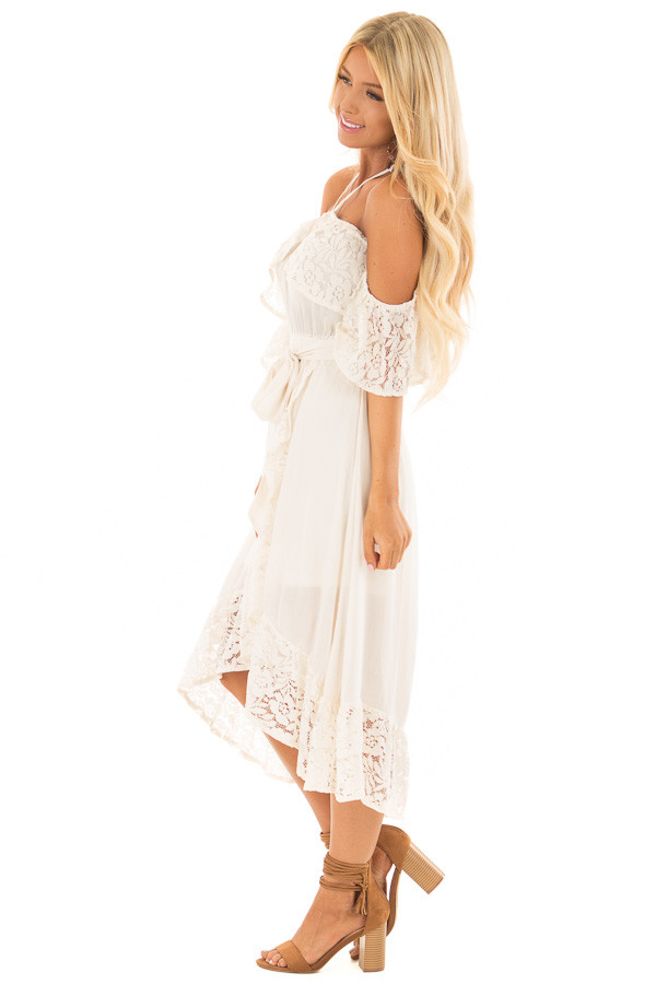 Cream Halter Off the Shoulder Dress with Lace Contrast side full body